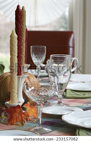 Autumn Fall theme Thanksgiving dinner table place setting - stock photo