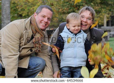 Autumn Family Picture with Little Boy