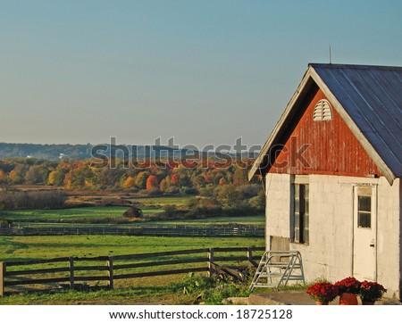 autumn farm house - stock photo