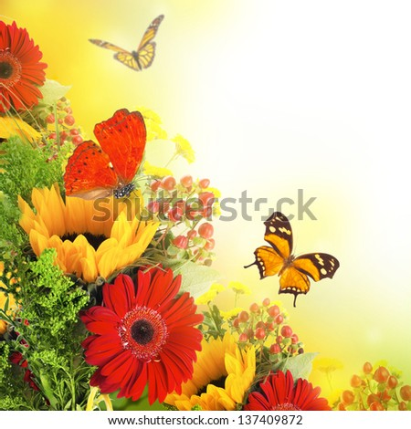 Autumn flowers, bouquet from gerber and butterfly - stock photo