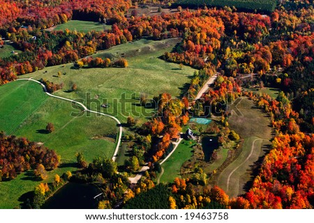 Autumn Flying over Collingwood, Muskoka and Lake Simcoe - stock photo