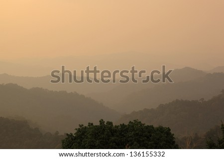 Autumn foggy landscape in Kaeng krachan national park, THAILAND
