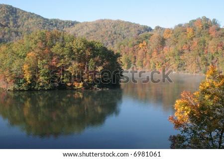 Autumn foliage in North Carolina mountains - stock photo
