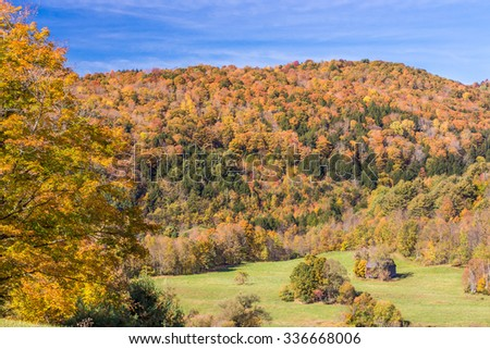 Autumn foliage in Vermont countryside, VT - stock photo