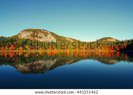 Autumn foliage with lake in New England area. - stock photo