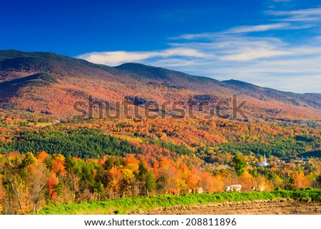 Autumn foliage with Stowe Village and cows, Stowe, Vermont, USA - stock photo