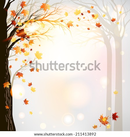 Autumn forest background. Raster version - stock photo