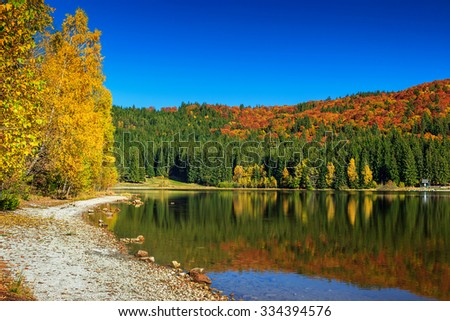Autumn forest landscape and stunning famous volcanic lake in Transylvania,St Anna Lake,Romania,Europe