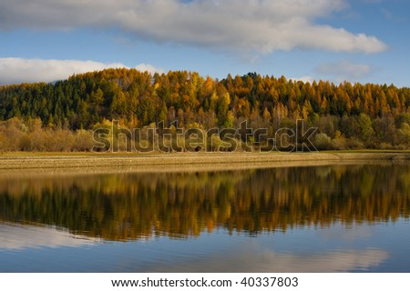 Autumn forest reflection in water in sunny day with some clouds