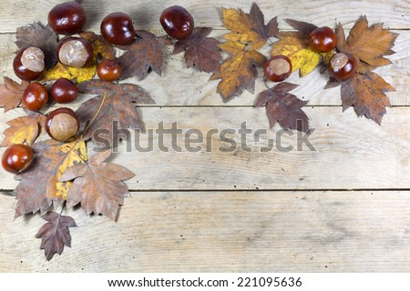Autumn Frame from Chestnuts and Brown Leaves on the Old Wooden Background