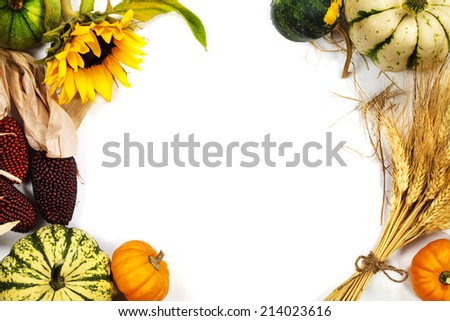 Autumn frame over white. Thanksgiving day, harvesting  or autumn concept - stock photo