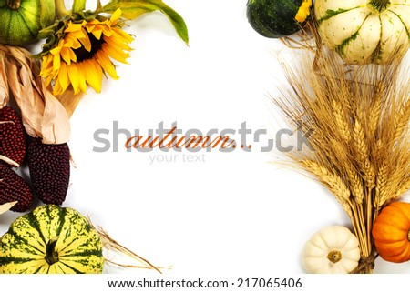 Autumn frame over white. Thanksgiving day, harvesting  or autumn concept (with easy removable sample text) - stock photo