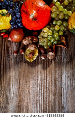 Autumn fruit and vegetable on wooden table  - top view