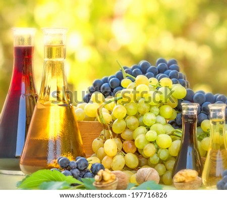 Autumn fruit and wine - stock photo