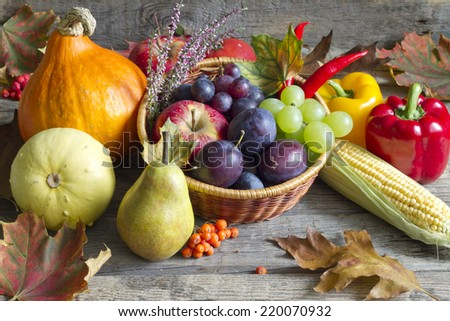 Autumn fruits and vegetables abstract still life