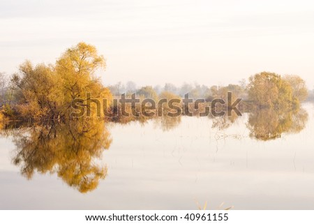 Autumn, Fulga lake, Romania - stock photo