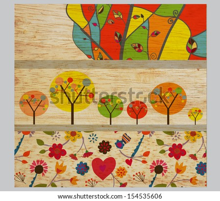 Autumn funny banners with trees and flowers  - stock photo