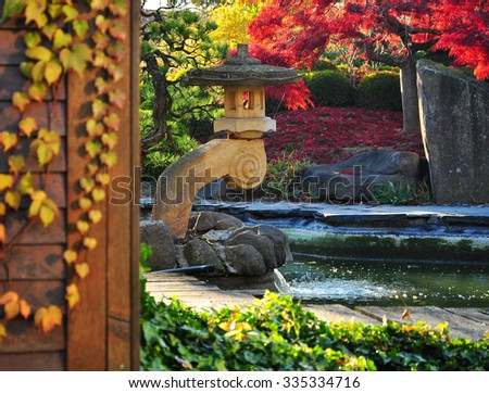 Autumn garden in oriental style, fall season - stock photo