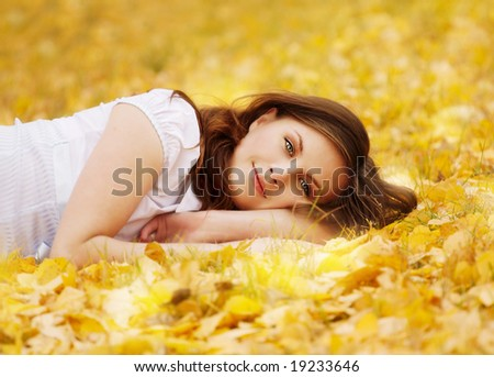 autumn girl - stock photo