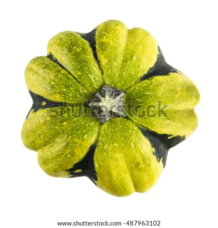 Autumn gourd viewed from above and isolated on a white background