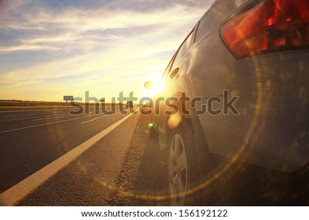 Autumn highway travel cars blur - stock photo