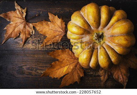Autumn holiday concept. Pumpkin and maple leaves on rustic wooden table. - stock photo