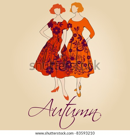 Autumn illustration of hand drawn style elegant vintage fashion ladies - stock photo