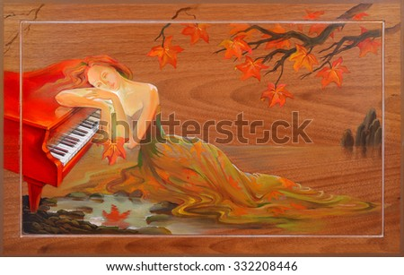 Autumn in Douarnenez. Oil painting on wood. - stock photo