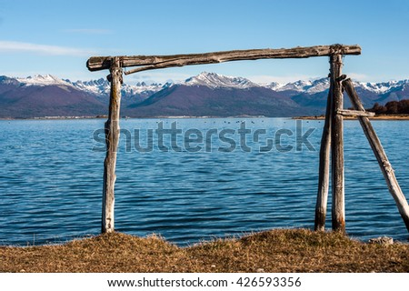 Autumn in Patagonia. Tierra del Fuego, Beagle Channel and Chilean territory, view from the Argentina side - stock photo