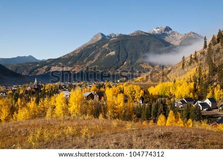Autumn in Silverton, Colorado - stock photo