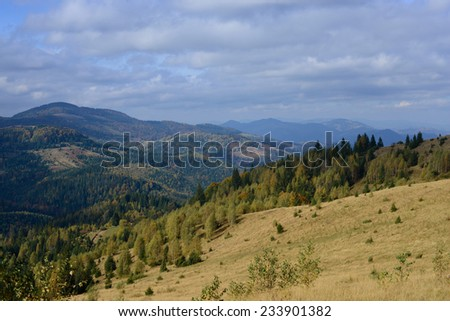 Autumn in the Carpathian mountains - stock photo