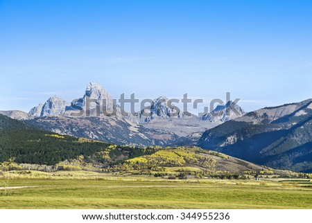Autumn in the Grand Teton Range. - stock photo