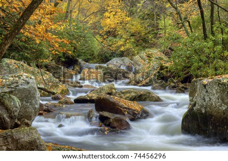 Autumn in the Great Smoky Mountains National Park. - stock photo