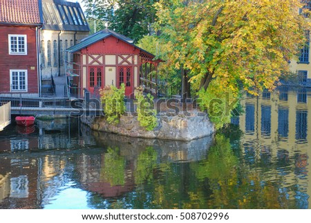 Autumn in the old industrial landscape of Norrkoping. Norrkoping is a historic industrial town in Sweden.