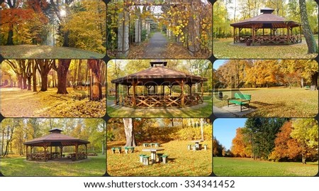 Autumn in the park , unwind and relax - a gazebo, pergola, bench, table for chess and ping pong - photo collage - stock photo