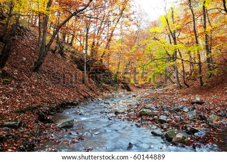 autumn in Yosemite mountains - stock photo