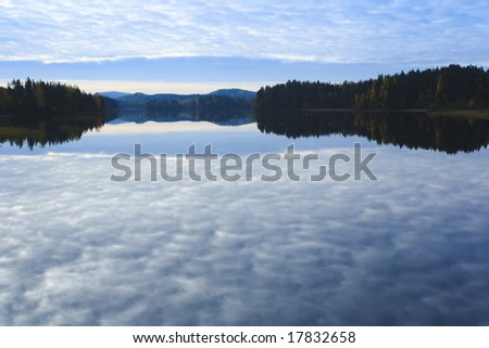 Autumn lake photo at sunset from Finland - stock photo