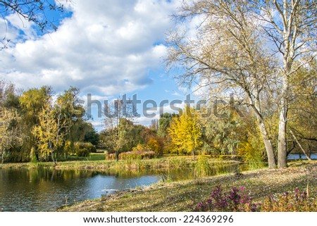 autumn landscape and middle of October - stock photo