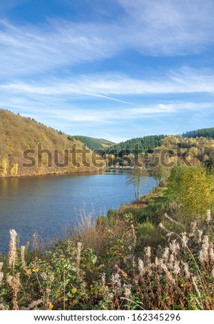 Autumn Landscape at Biggesee Reservoir,Sauerland Region,North Rhine Westfalia,Germany
