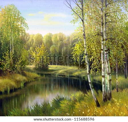 autumn landscape, canvas, oil - stock photo