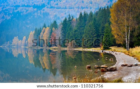 autumn landscape in the mountains - stock photo