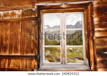 Autumn landscape in Wood window