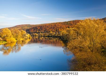 Autumn landscape near the Berounka river in Dobrichovice - stock photo