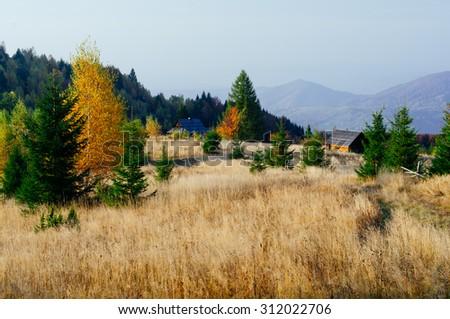 Autumn landscape. Old abandoned village in the mountains. Carpathians, Ukraine, Europe - stock photo