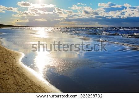 Autumn landscape on the Baltic Sea, Lielupe - Jurmala - Latvia - stock photo