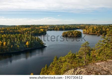 Autumn landscape on the Repovesi park (Finland, South Karelia) - stock photo