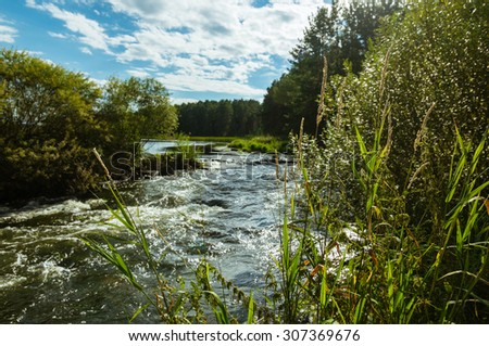 autumn landscape on the Ural River Irtysh, Russia, the Urals - stock photo