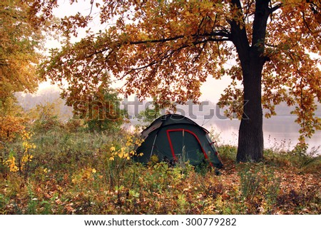 autumn landscape tourist tent under yellowed oak early misty morning near the river