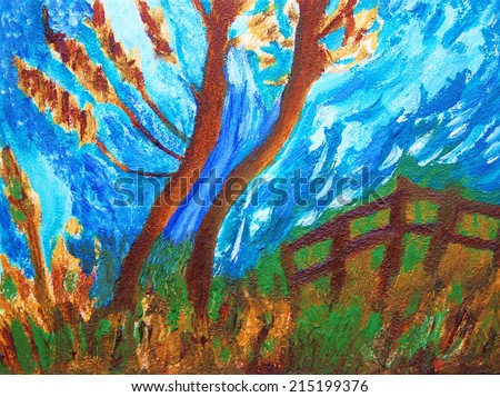 Autumn landscape. View of a tree and wooden fence. Oil on canvas painting. - stock photo