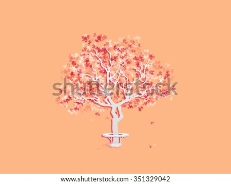 Autumn landscape with abstract tree. Seasons. Autumn background. Fall foliage. Rasterized version - stock photo